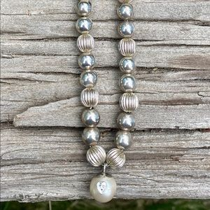 Jewelry - Sterling silver beaded pearl w diamond necklace